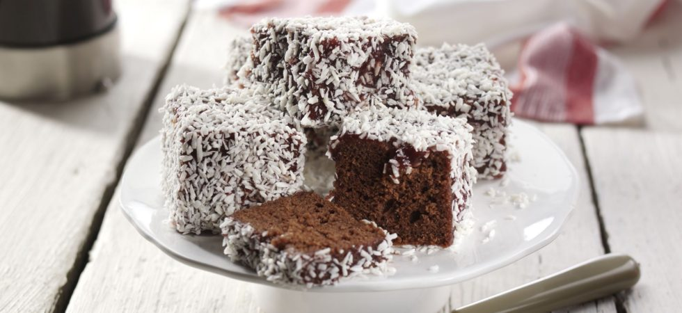 Streamline Reduced Sugar Strawberry Jam Chocolate Lamingtons
