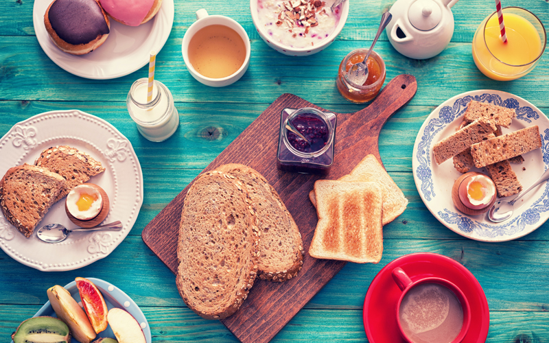 Breakfast, jam, spreads, toast, bread