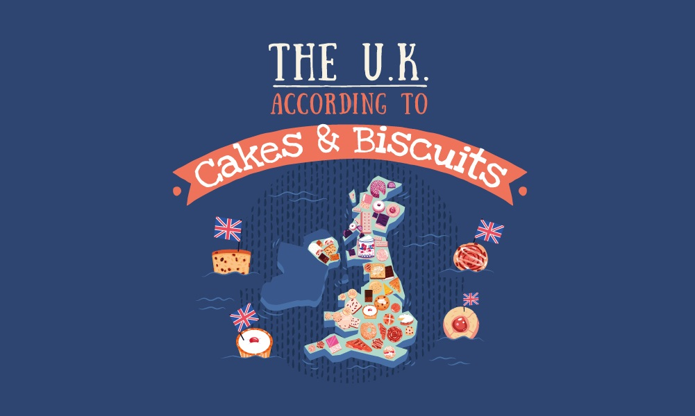 UK map according to cakes and biscuits - sweet treats streamline reduced sugar jam