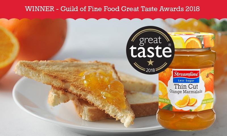 Streamline Seville Orange Thin Cut Less Sugar Marmalade - great taste awards winner 2018