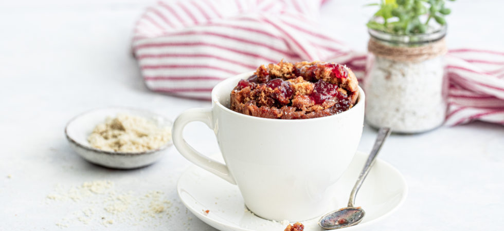 Jam crumble mug cake with Streamline Less Sugar Jam