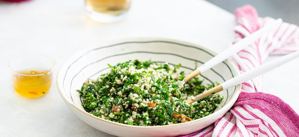 Fresh couscous tabbouleh salad with zesty orange streamline marmalade dressing