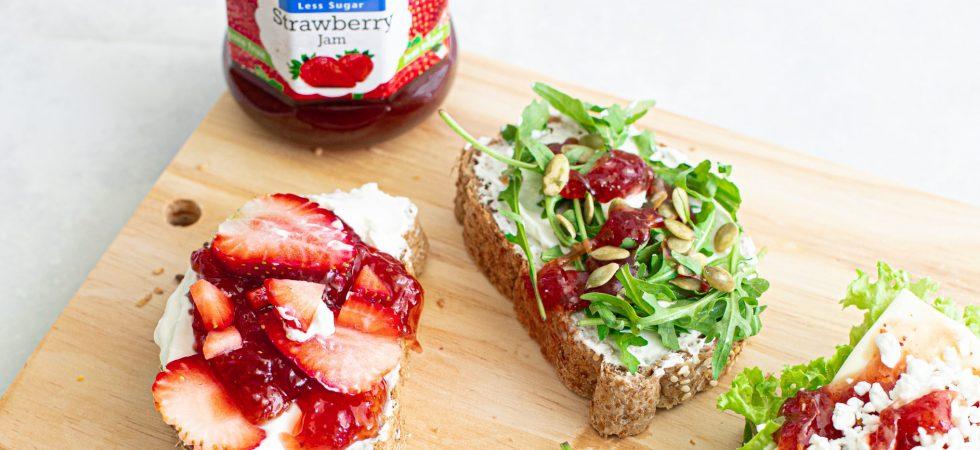 Caramelised strawberry and whipped feta open sandwich tartine recipe