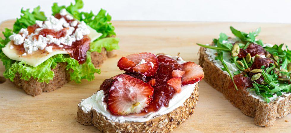 Sweet strawberry and whipped feta open sandwich tartine recipe